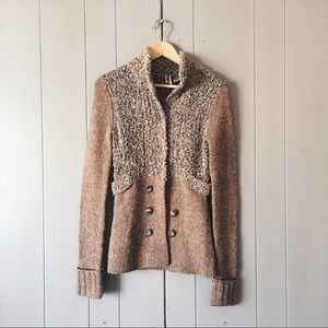 Buckle Textured Knit Sweater Cardigan